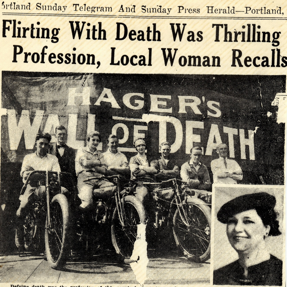 Hazel Eaton Watkins, 3rd from left, sits on her indian motorcyle in 1927 at Olive Hager's Wall of Death.