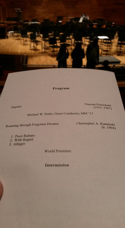 It's an honor to be on a program next to such great composers like Bernstein, Persichetti, and Grainger.