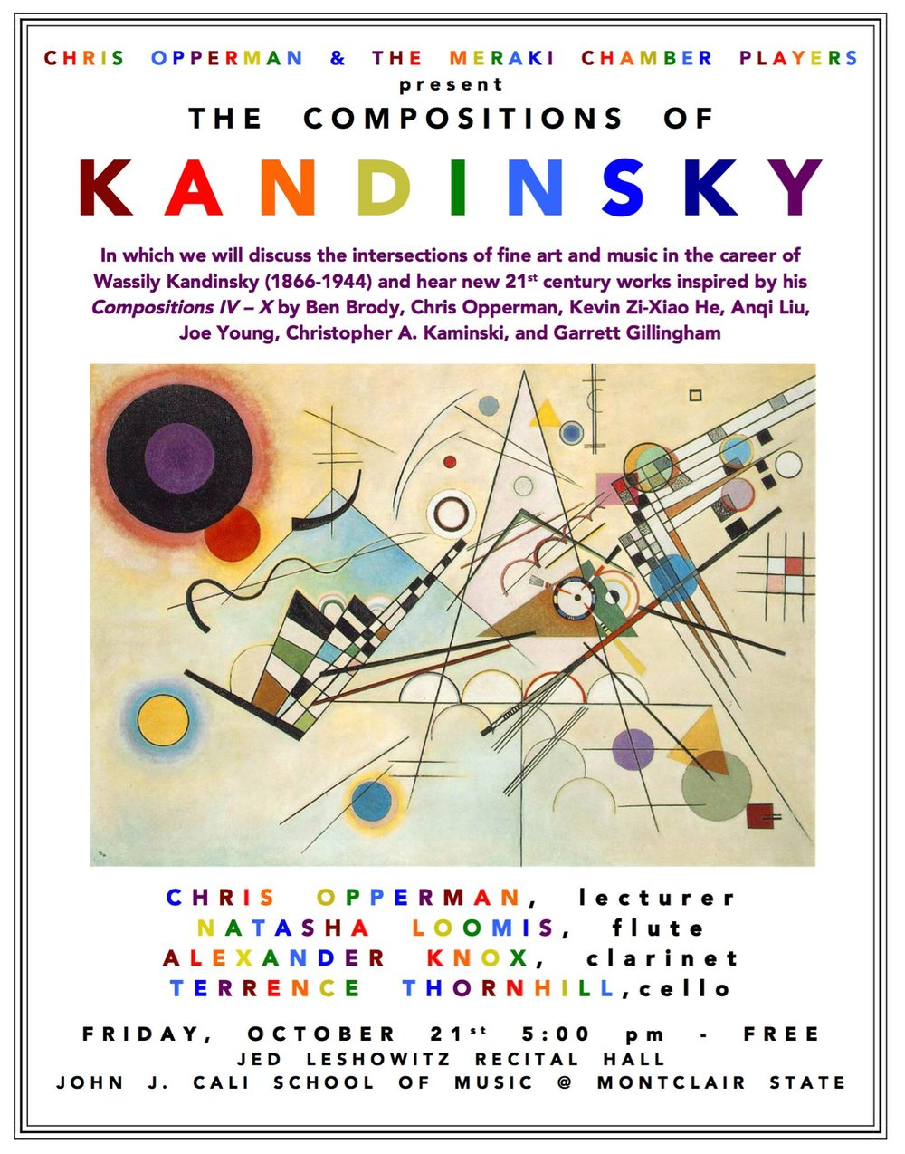 Chris Opperman, my first composition teacher, had the Meraki Chamber Players come by Montclair State University to do the Kandinsky Concert.