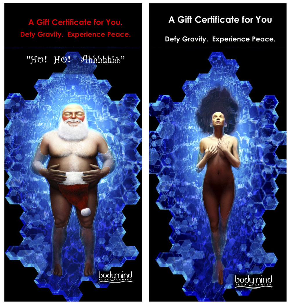 """floating Santa"" and ""Floating goddess"" by rochester's ben moriconi"