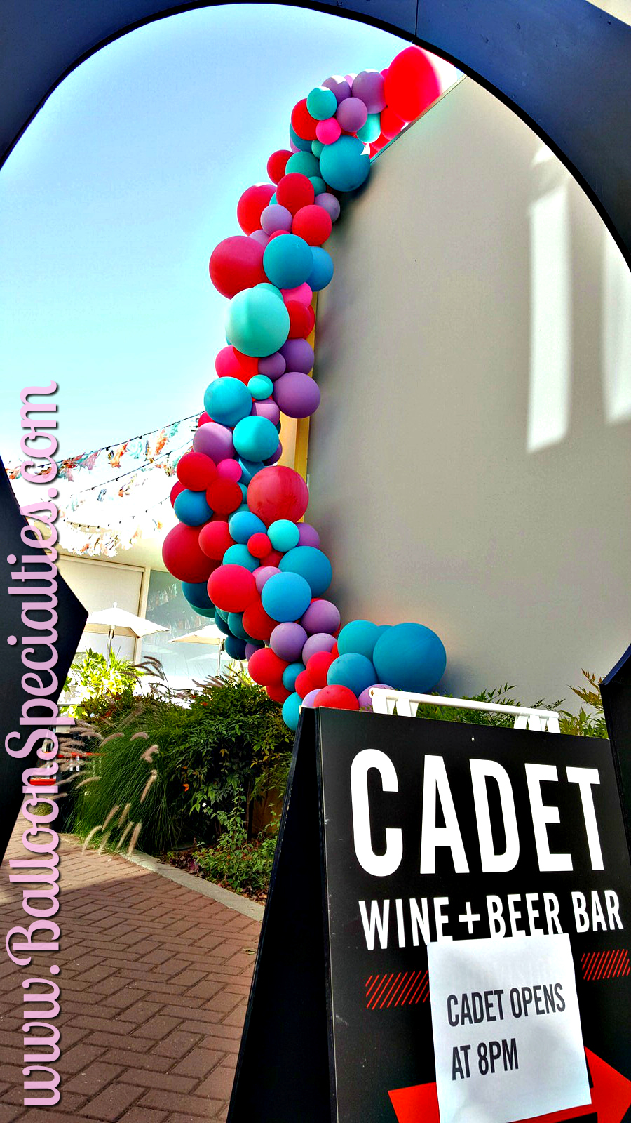 Cadet Wine Bar Balloon Garland Side View Napa Valley Zim Balloons.jpg