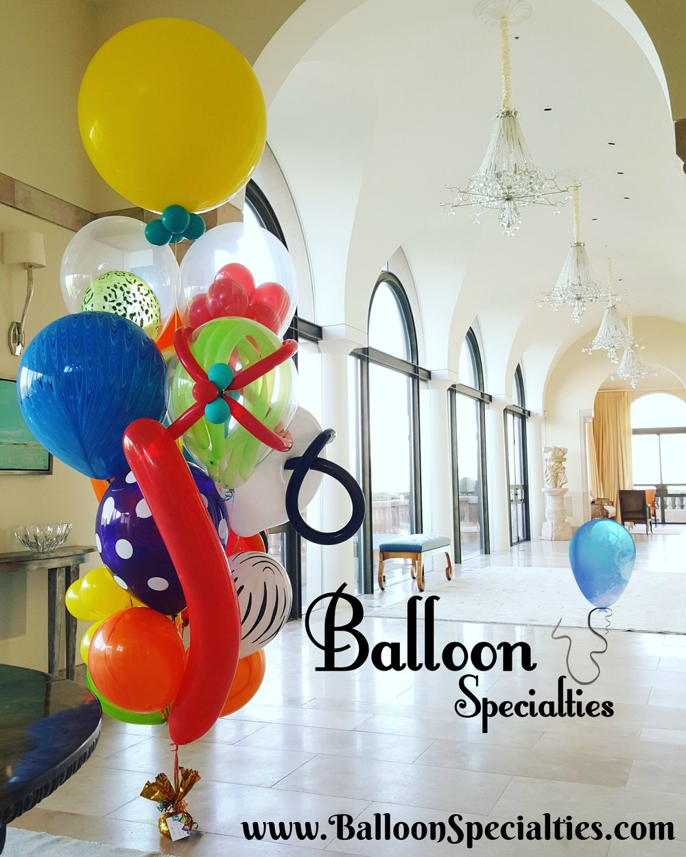 Zim Balloon Specialties All Latex Chihuly Birthday Balloon Bouquet.jpg