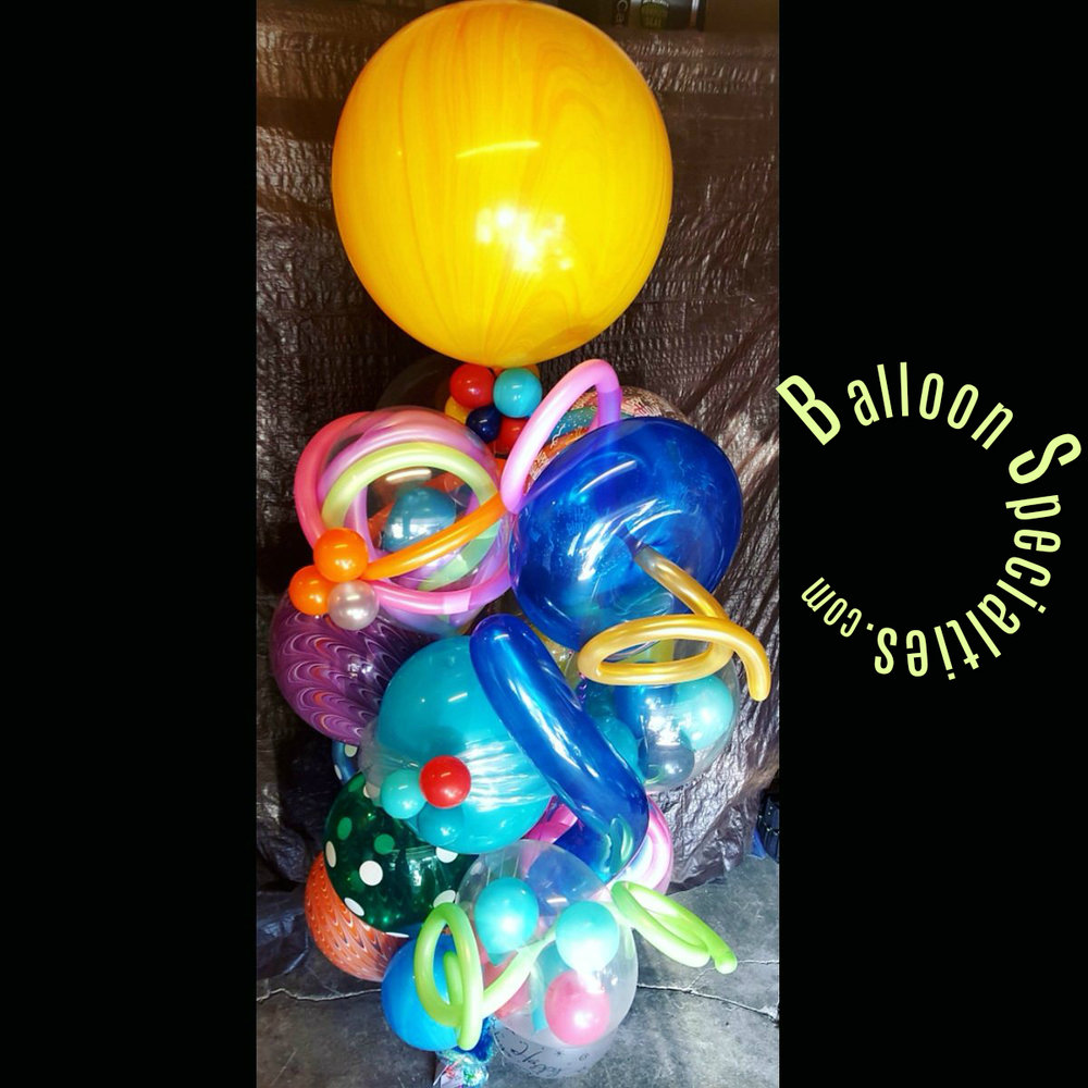 Latex Helium Balloon Arrangment Chihuly Blown Look Zim Balloon Specialties.jpg