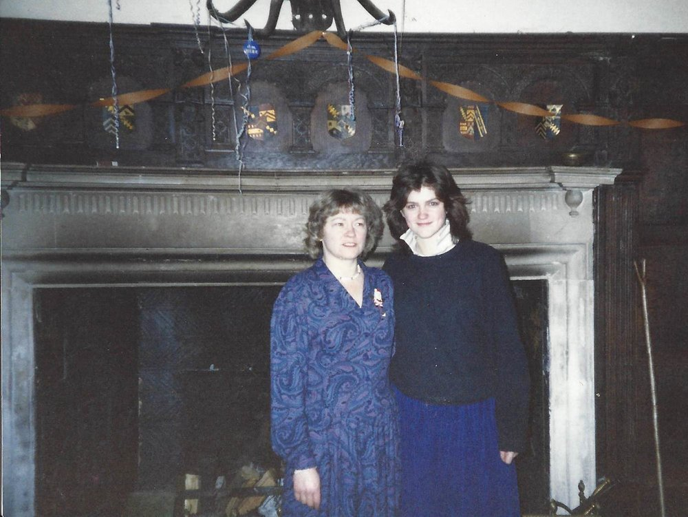 Mum and me in front of the fireplace in the Great Hall. Copyright: Caroline Jane Knight