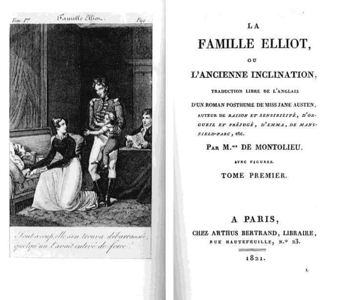 Frontispiece and title page of  La Famille Elliot , 1821