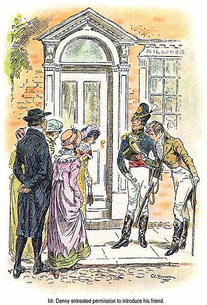 A Meryton scene. Credit: C E Brock, 1895