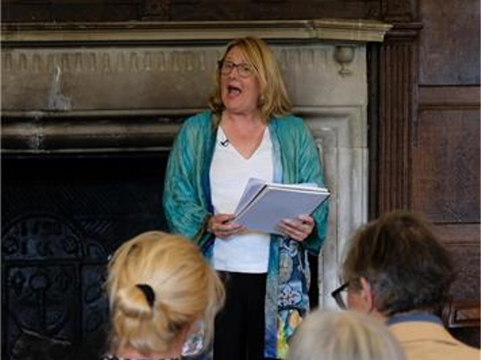 The hilarious Alison Larkin entertaining a crowd including Susannah Harker and Simon Langton!  Credit: Julia Grantham