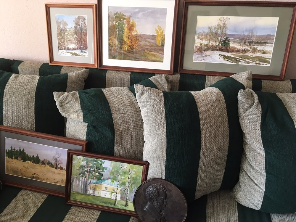 Inspired by the delicate tranquility of Boldino I have bought a number of paintings made by a local artist. Here you see my first attempt to arrange them on the sofa and see how they'd look on the wall.