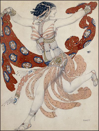 "Costume for the ""Cléopâtre"" by Leon Bakst, 1909"