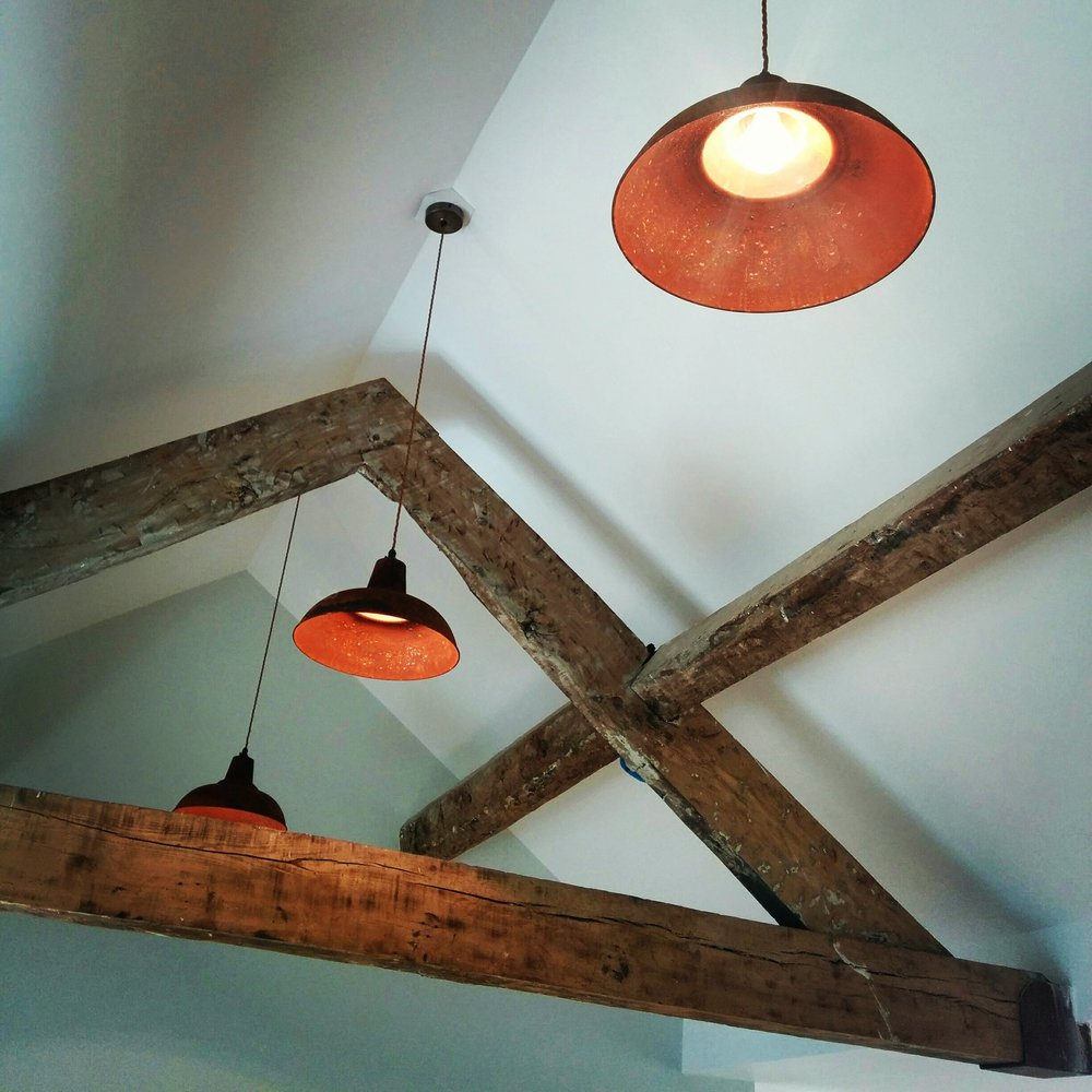 Our 'Rusty Lamp Shades' as seen at  Blakes Kitchen  in Clanfield.