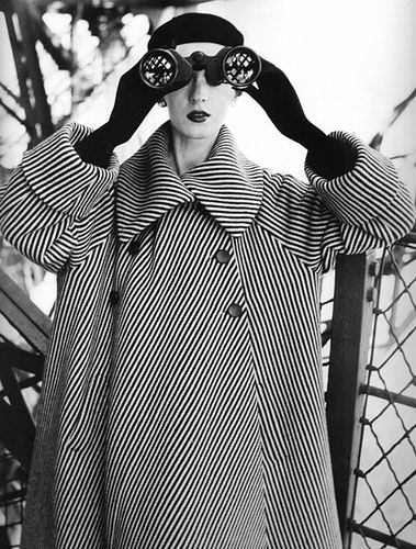 Balenciaga striped coat photographed at the Eiffel Tower by Richard Avedon.
