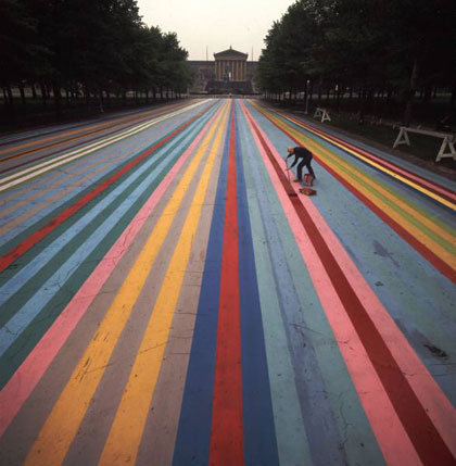 Gene Davis painting 'Franklin's Footpath' in front of Philadelphia Museum.