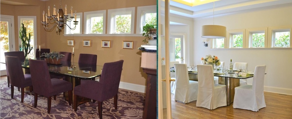 Changing light fittings, covering chairs and exposing the floor give this dining room more light and a contemporary look.
