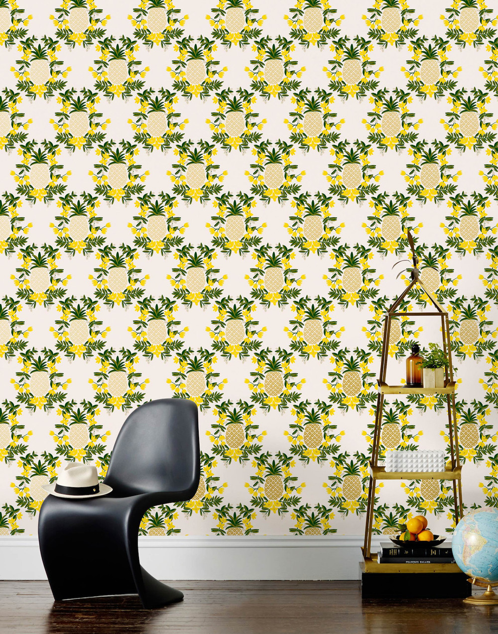 But don't just consider furniture, make over your entire walls with a crazy carnival inspired motif, like this Pineapple (Yellow) wallpaper from Hygge & West.