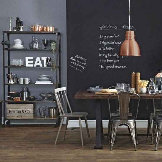 A blackboard in the kitchen is a great way of making sure things aren't forgotten when you're both leaving for work at different times.
