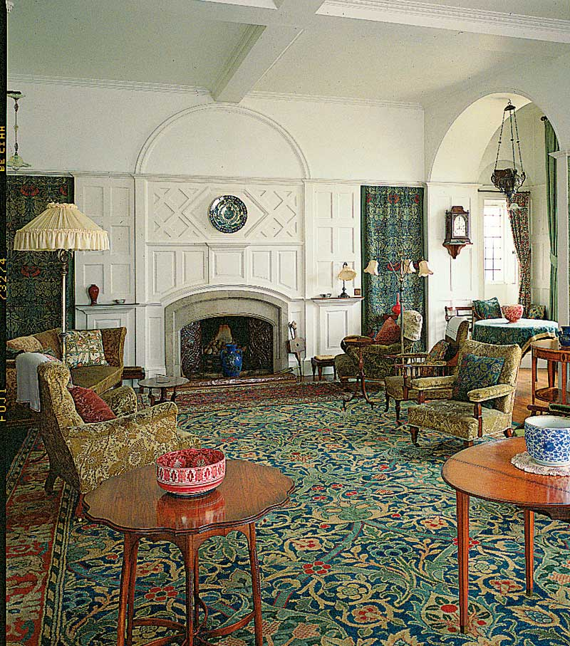 This room at  Standen  is decorated using William Morris designs. Despite the many different patterns, the calm colours of greens, blues and creams, as well as the naturalistic motifs make it a comfortable space.