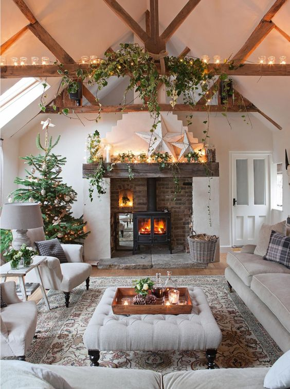 Peaking round the door you'll see a fire in the grate, the trails of ivy hanging down and the promise of soft sofas and deep cushions. There's even a warming Christmas drink ready and waiting! Transform your home into a woodland inspired wonderland. Candles, a fire (if possible), but most importantly adding natural elements and creating a welcoming sight filled with cosy furniture and thoughtful decorative touches. .    Source: indeeddecor.com