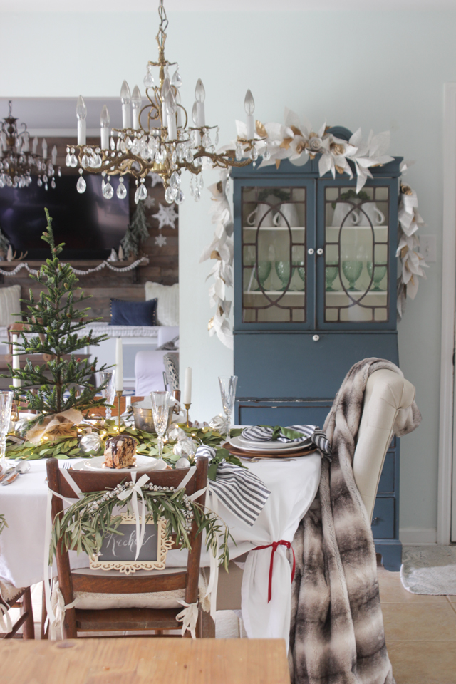So much of the build up to Christmas, as well as on the day itself, happens in the dining room. Make sure it's comfortable! Springy seat cushions and soft faux fur throws will keep everyone lingering around the table for longer.  Use your table decorations to hide little presents or edible truffles for guests and family to find. Or put a mini tree in the centre and hang with edible decorations, perfect for after dinner treats. Place food in the middle for relaxed eating and sharing.   Source: shadesofblueinteriors.com