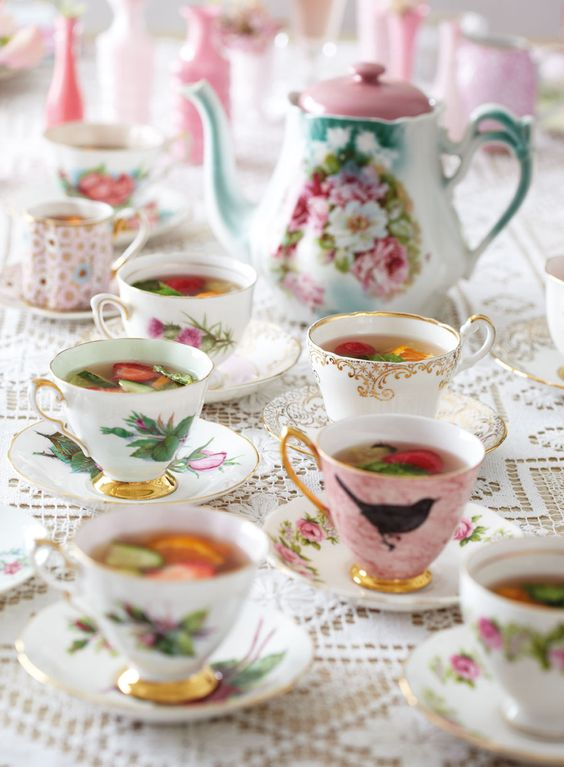 ...Or hark back to a bygone era by serving up your cocktails in vintage china...   Source: mags-uk.com