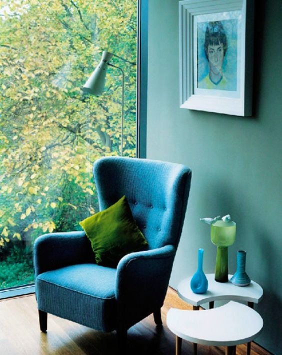 Maybe you crave more of a change? Perhaps you're ready to fully embrace Greenery and really bring the outside in... This home is lucky enough to have a window which looks straight onto greenery. Look how well it goes with the rich teals and greens inside! A warm wood floor ad white table soften the look.   Picture: themakerplace.co.uk