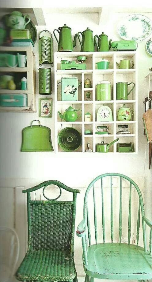 Or if you'd prefer a simpler way, collecting green crockery and kitchen accessories is an easier way to start incorporating this hue into your home! Picture: blog.seaofatlas.com