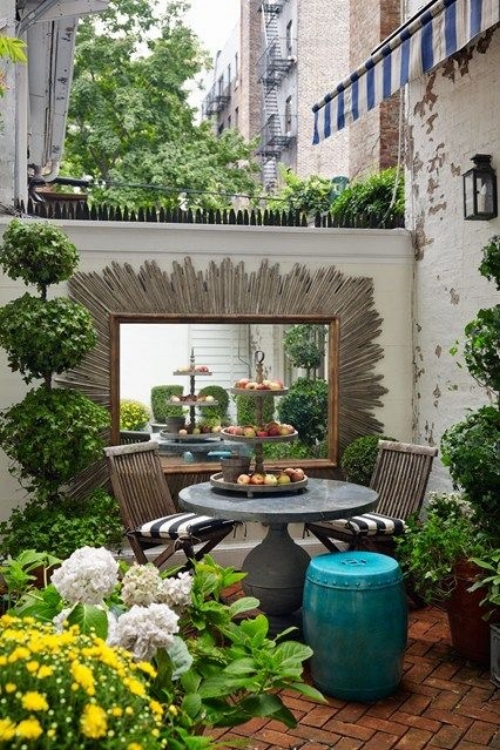 The average home in the UK doesn't have much outdoor space, so it's good to make the most of every part of it. A mirror works so well in a garden, doubling the impact of plants and flowers.It will also create a sense of an outdoor 'room' and blur the lines between the inside and outside of your home.   Image: houseandgarden.co,uk