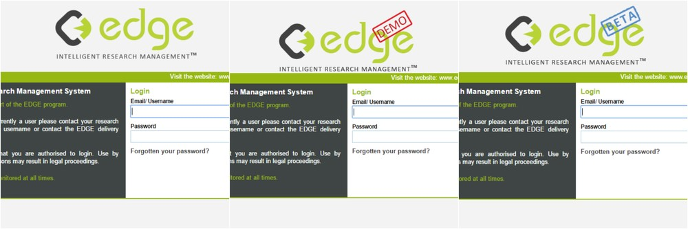 EDGE Environment Login Pages