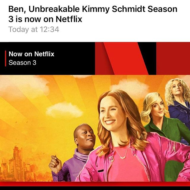 Agggggghhhhhhhhhhhhhhhhh!!!!!! Too excited to watch #unbreakablekimmyschmidt new #season3  just get the email! @titusssawthis I'm soooo excited!