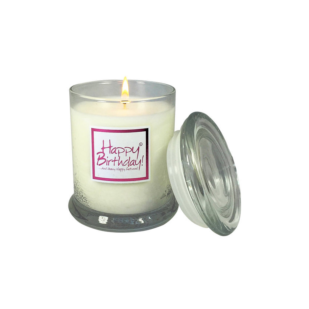 Lily Flame Happy Birthday Candle Jar