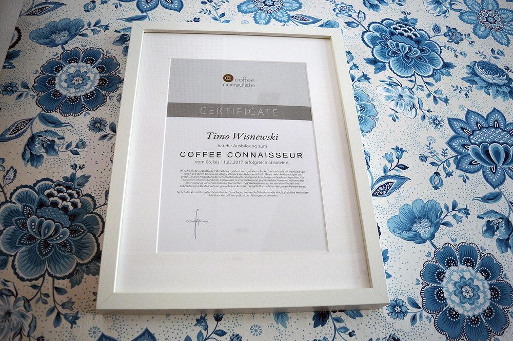 Die Urkunde zum Coffee Connaisseur. Foto: privat