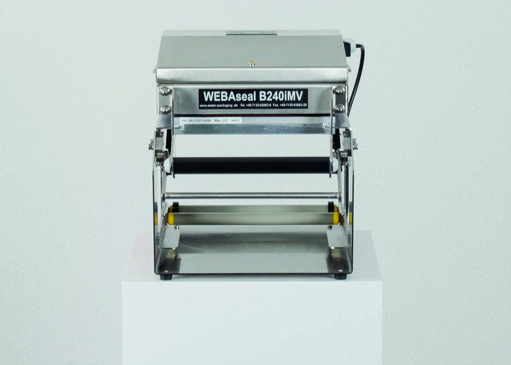 TECHNISCHE DATEN     Typ:  B240iMV  BxHxT:  310 x 640 x 510 mm  Gewicht:  16 kg  Leistung:  1.000 Watt  Spannung:  230 V  Siegelfläche:  240 x 260 mm  Folienbreite:  bis 245 mm