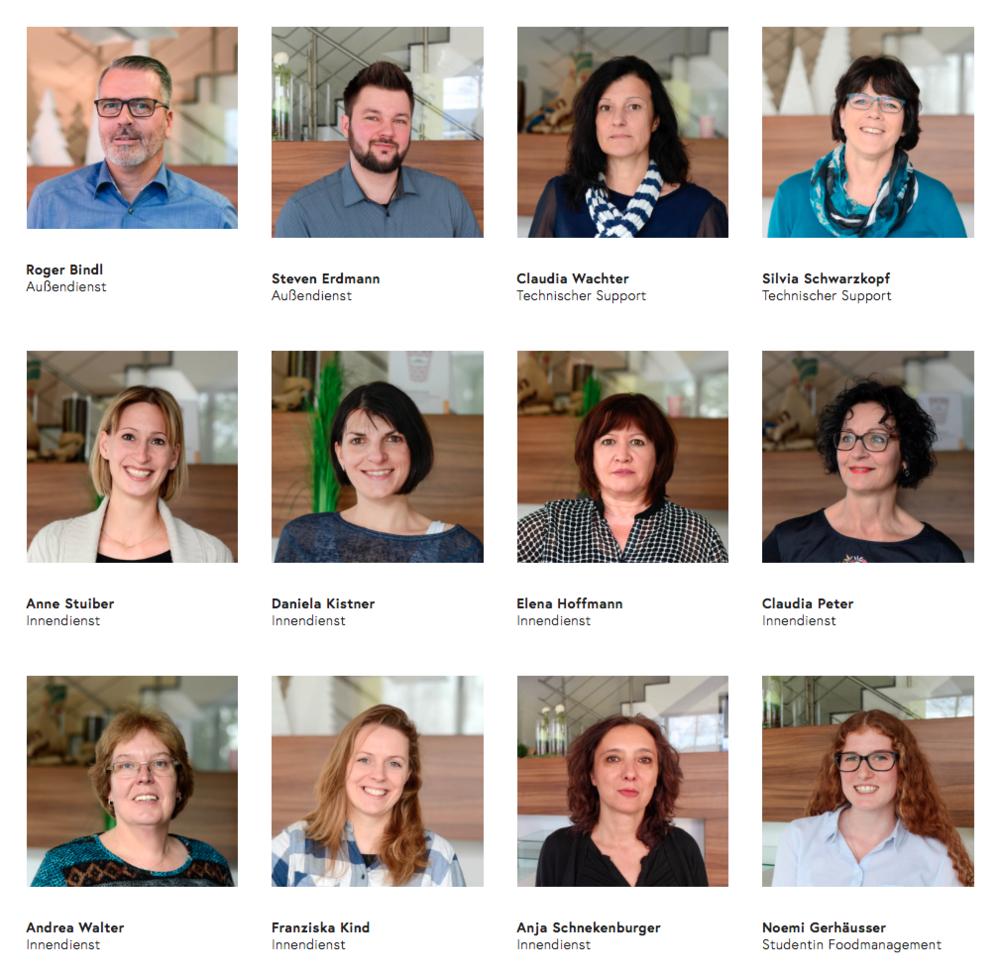 Kompetente Ansprechpartner. Screenshot und Fotos: © WEBER Packaging GmbH, 2018