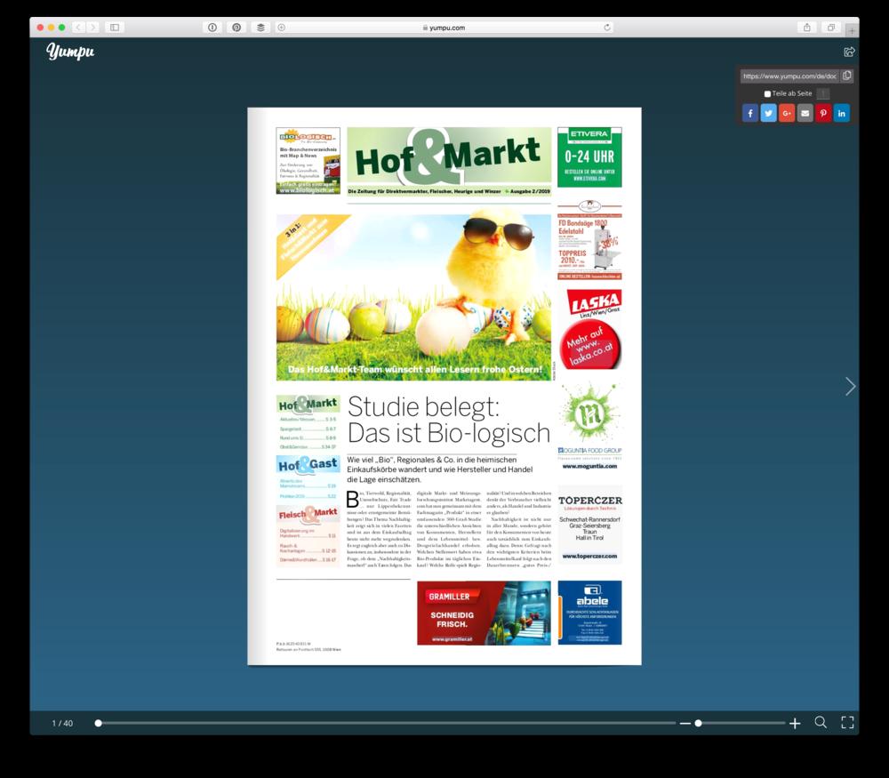 Die Webversion der Publikation  Hof & Markt  aus Österreich. Screenshot: © WEBER Packaging GmbH, 2019
