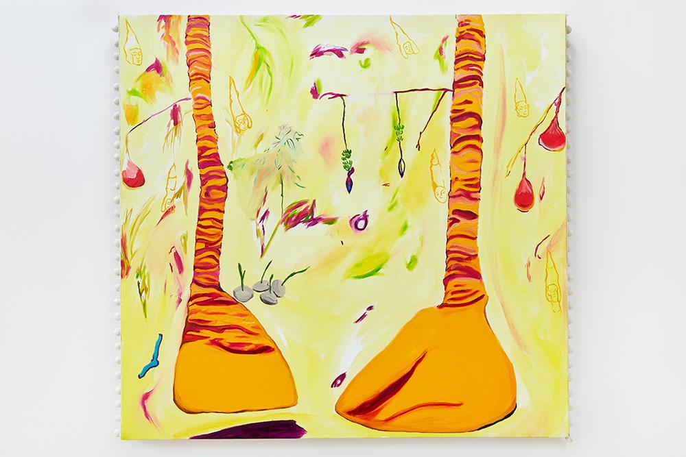 Stripy Leg Trees, 2016, Oil on canvas with pom-pom trim, 90 x 95 x 4cm