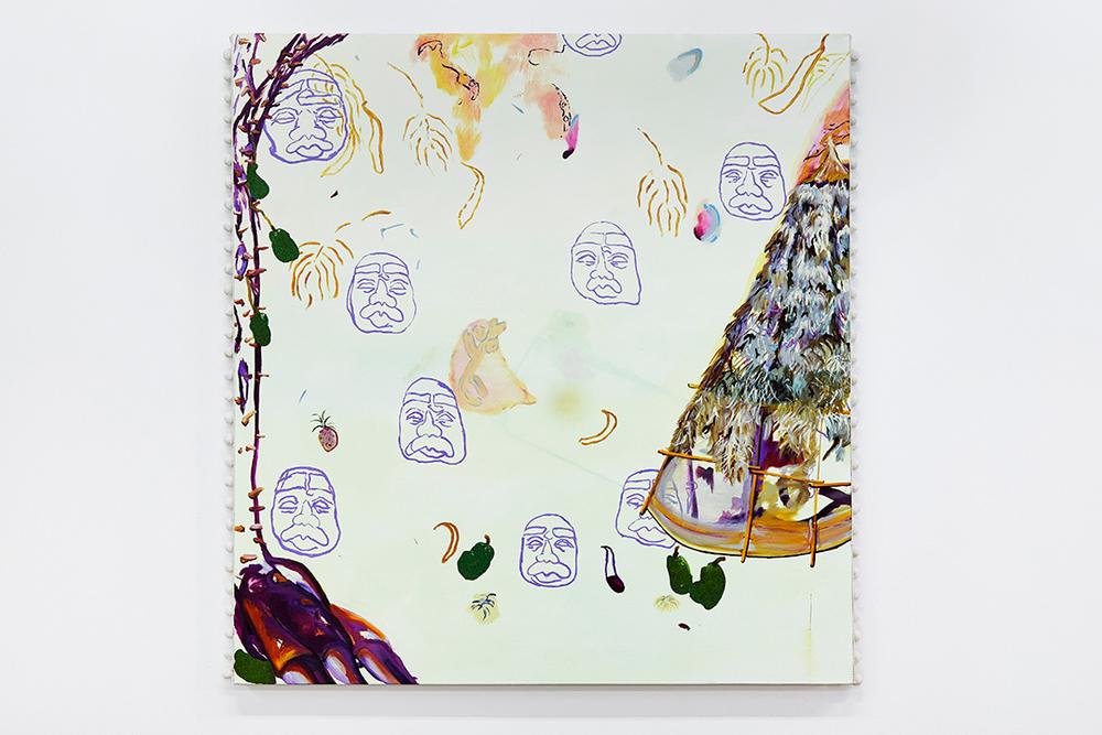 Heads of the Jungle, 2016,oil on canvas with pom-pom trim, 95 x 90 x 4cm