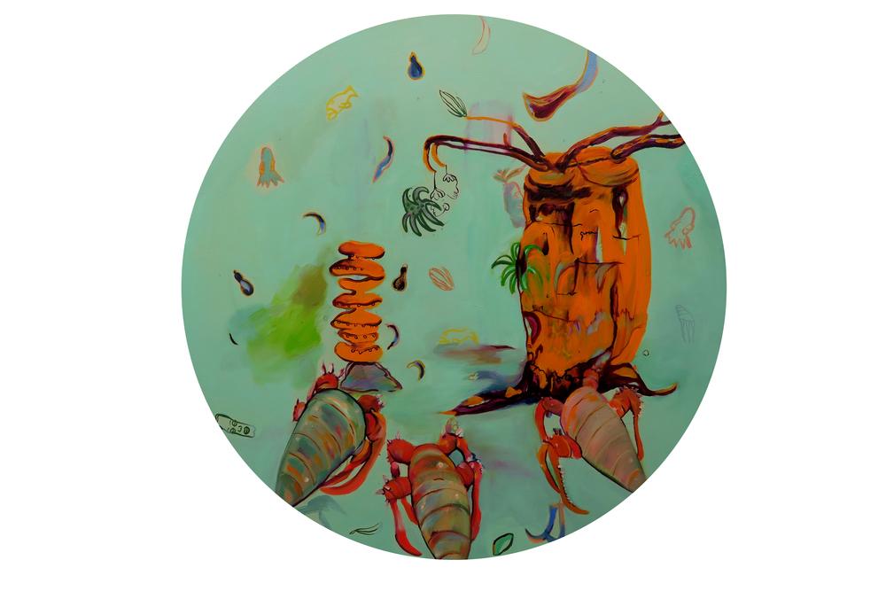 Baobab Crustacea, 2016 oil on canvas, 73.5cm diameter