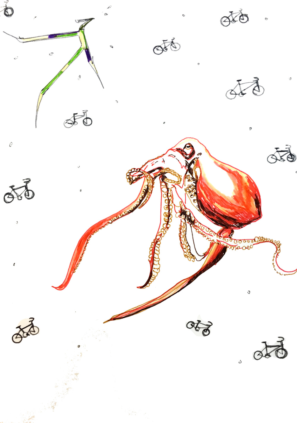 Octopus cycler, 2015, fine liner on paper, 14.8 x 21 cm