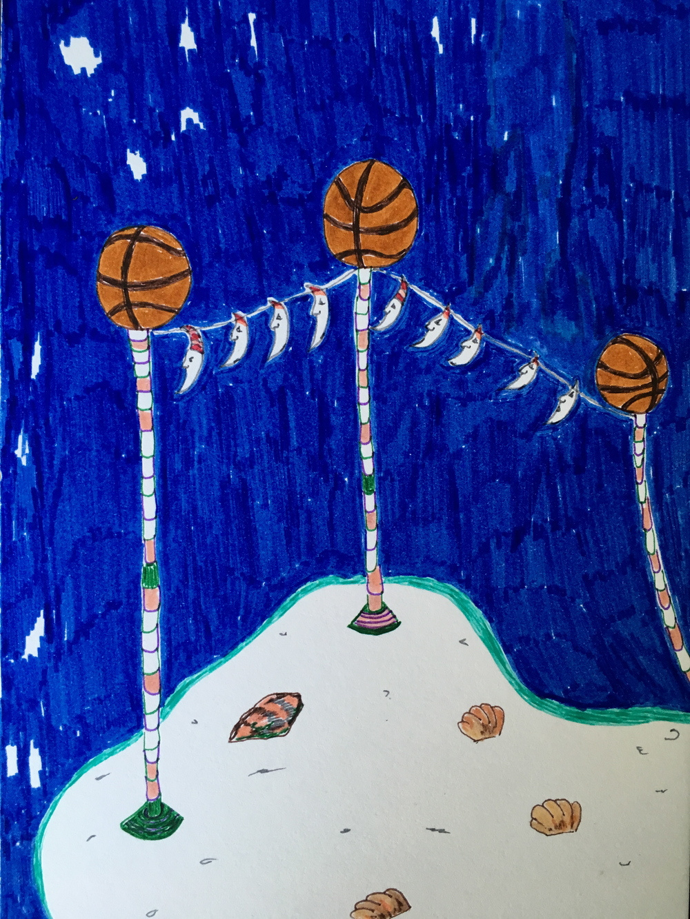 Basketball island, 2015, felt tip and fine liner on paper, 14.8 x 21 cm