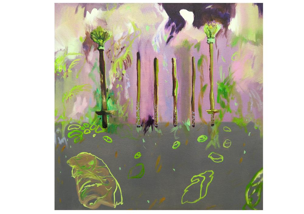 Jungle Sticks, 2015, oil on canvas, 50 x 50 cm