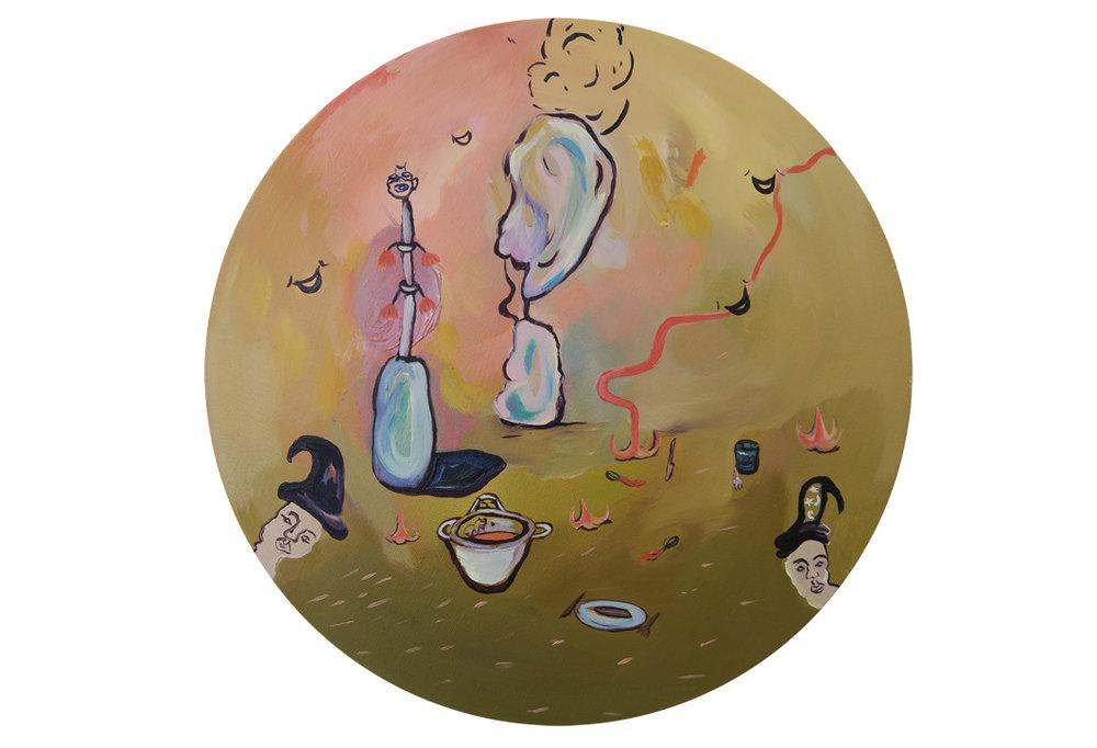 Brugmansia Trail, 2016, oil on canvas, 30 cm diameter
