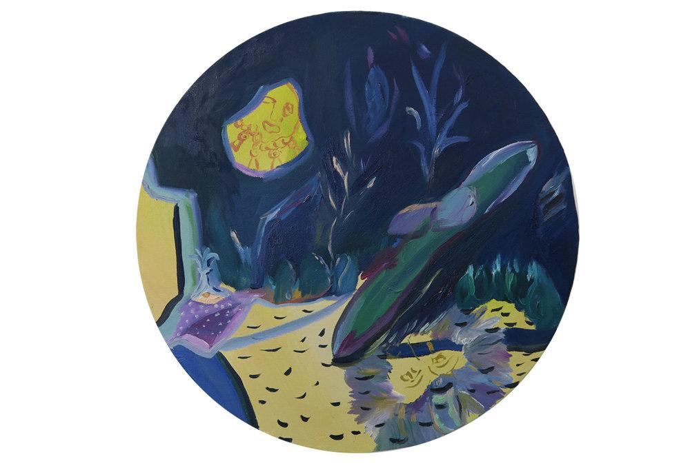 Midnight Cornfield, 2016, oil on canvas, 30 cm diameter