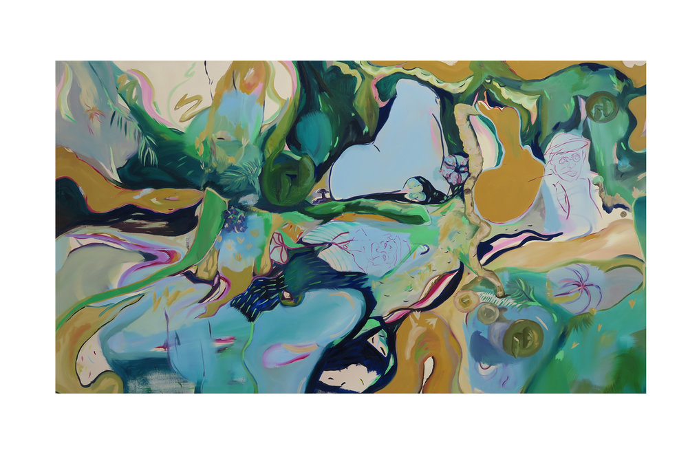 Jungle Mapping, 2016, oil on canvas, 160 x 90 x 2cm