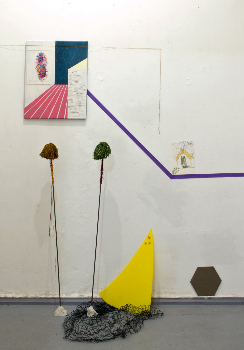 Space Invaders (Exhibition view), Salon Simelde. Works L to R: Painting by Sanne Maloe, Pom-Poms, 2016, thread from Chiapas, found rod and clay, perspex and mirror Sanne Maloe, drawing Mayan Stelae.
