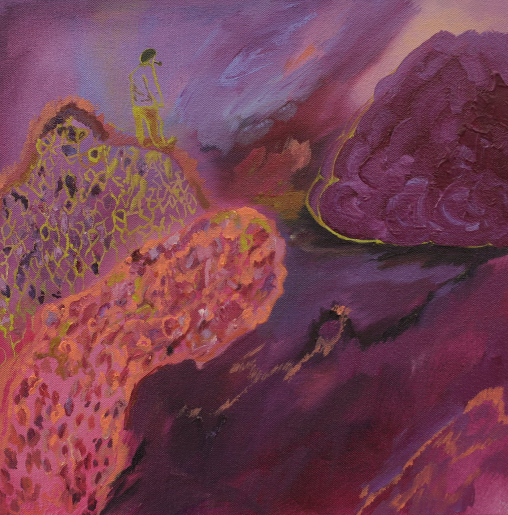 Precipice, 2014, oil on canvas, 30 x 30 x 2cm