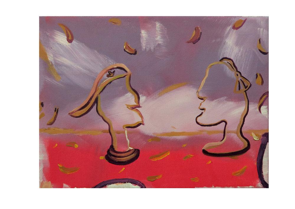 Hollow Heads, 2017, oil on canvas 24 x 18 x 2cm