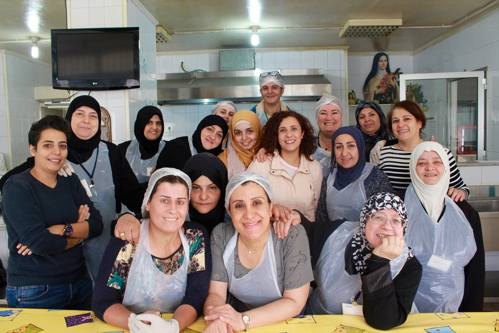 Palestinian and Syrian refugee women participating in Souk el Tayeb's capacity building program, sponsored by the United Nations Refugee Agency (UNHCR)