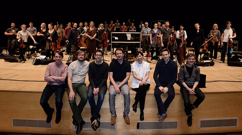 Left to Right:  David Brewis (Field Music); Andrew Hodson and Steve Jefferis (Warm Digits); Bob Stanley; Esther Johnson; Hugh Brunt (conductor); Peter Brewis (Field Music), in front of the Royal Northern Sinfonia at Sage Gateshead.