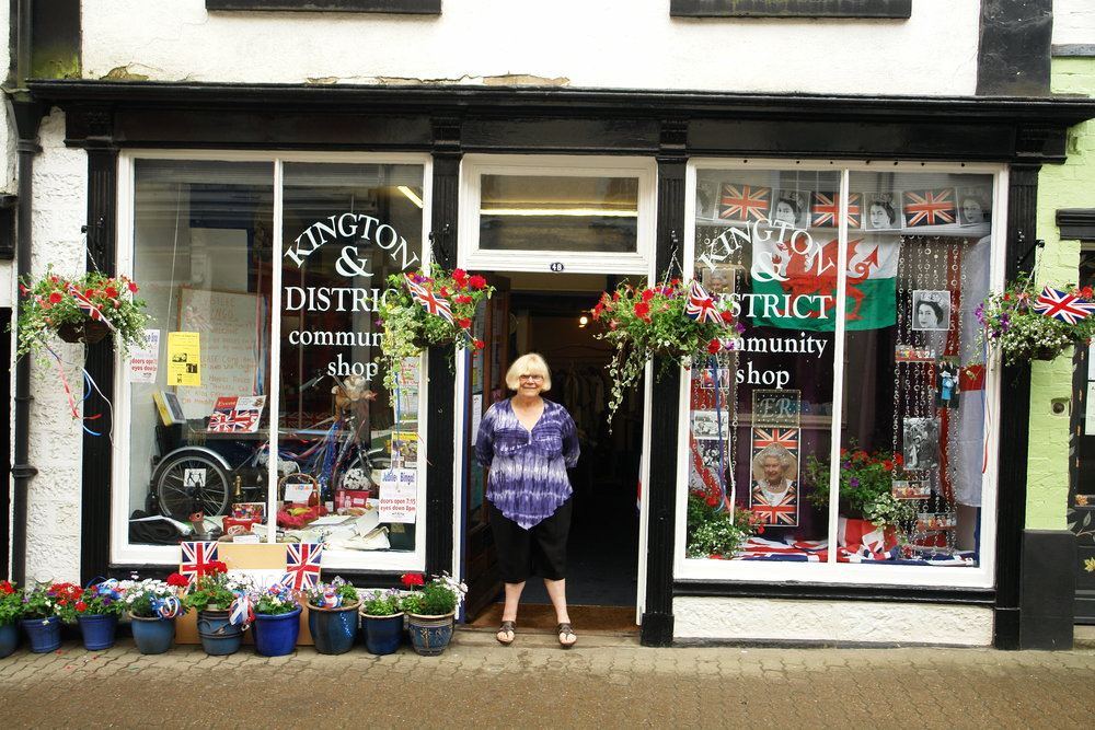 Rita outside her Community Shop in Kington, which is used by local charities throughout the year