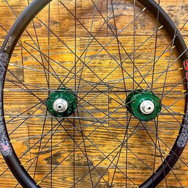 Chris King hubs with Paceline gold nipples & Velocity Blunt SS rims