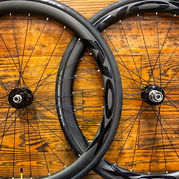 Chris King R45 disc hubs with NOX Composites carbon rims